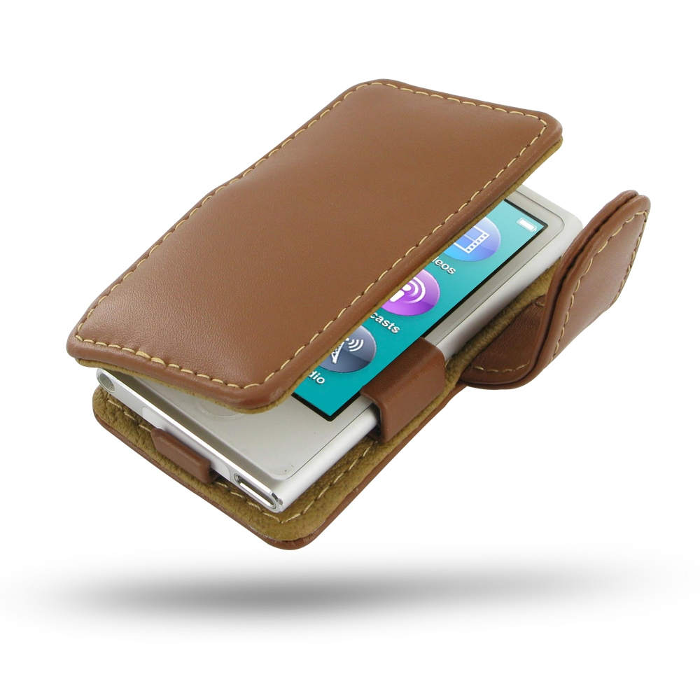 ipod nano 8th nano 7th leather flip cover brown pdair. Black Bedroom Furniture Sets. Home Design Ideas