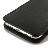 Leather Vertical Pouch Case for Apple iPhone X (Black Metal Pattern)