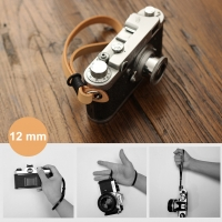12mm Black Genuine French Leather Camera Wrist Grip Strap / Camera Hand Grip for Micro-single Camera