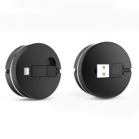 2 in 1 USB to Micro USB Lightning Retractable Cable (Black)