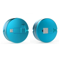 2 in 1 USB to Micro USB Lightning Retractable Cable (Blue) :: PDair