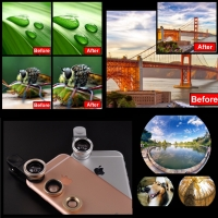 3 in 1 Detachable Aluminum Alloy Camera Lens Kits for iPhone, iPad and Android Cell Phone