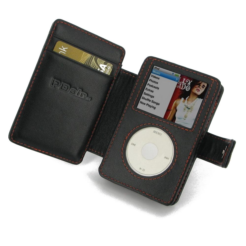 Ipad Classic Book Cover ~ Ipod classic nd leather flip cover orange stitch