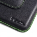 iPhone 8 Plus (in Slim Cover) Leather Holster Pouch Case Green Stitch top quality leather case by PDair