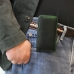 iPhone 11 (in Slim Cover) Pouch Clip Case (Green Stitch) handmade leather case by PDair