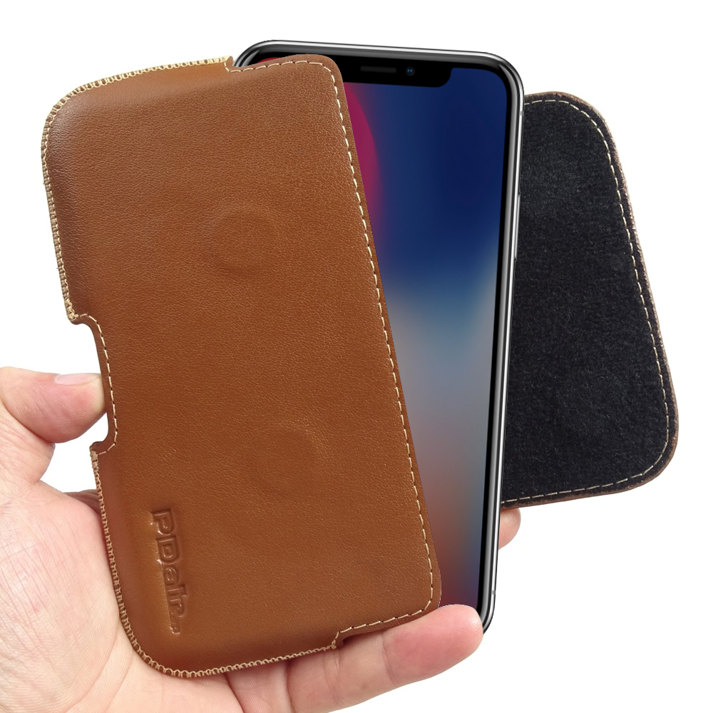 low priced 777e2 45002 iPhone X Holster Pouch :: PDair Brown Leather Belt Clip Case Cover