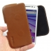 Moto G 3rd Gen 2015 Leather Holster Pouch Case (Brown) genuine leather case by PDair