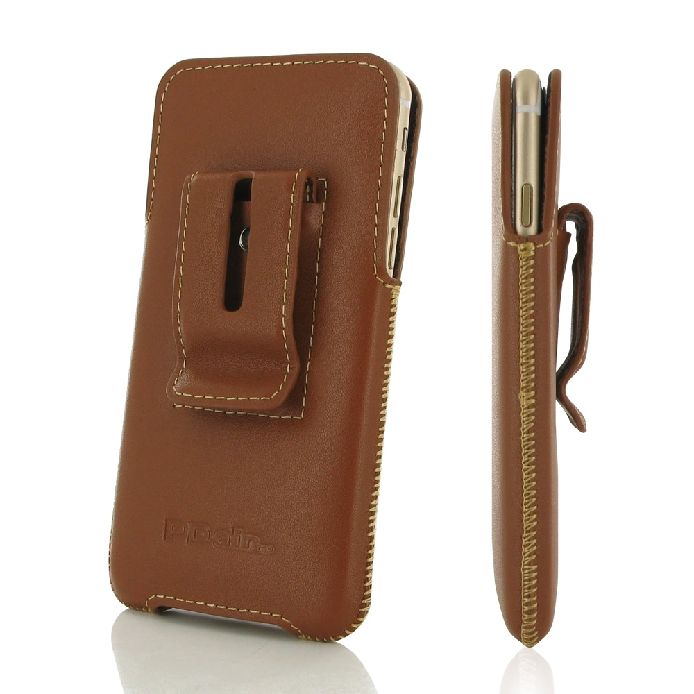 iphone 6 6s plus luxury pouch case with belt clip brown pdair. Black Bedroom Furniture Sets. Home Design Ideas