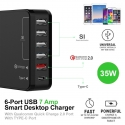 6-Port USB Smart Desktop Charger With QC 2.0 + Type-C (35W 7A) (Black) :: PDair