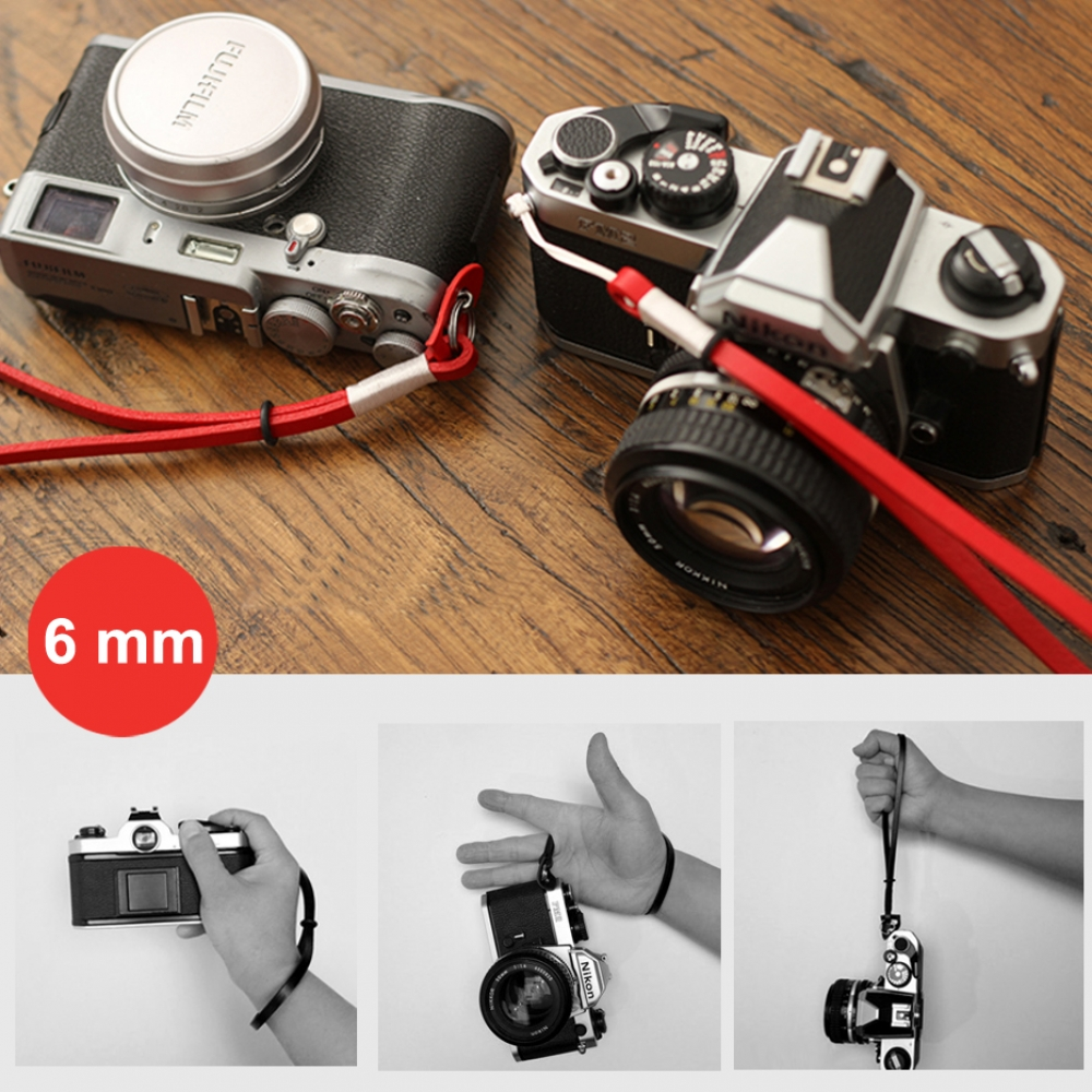 6mm Red Spain Leather Micro-single Camera Wrist Grip Strap :: PDair