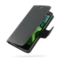 Acer Liquid Zest 4G Leather Flip Carry Cover PDair Premium Hadmade Genuine Leather Protective Case Sleeve Wallet