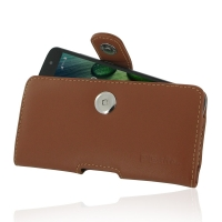 Acer Liquid Zest 4G Leather Holster Case (Brown) PDair Premium Hadmade Genuine Leather Protective Case Sleeve Wallet