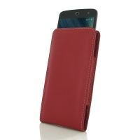 Acer Liquid Zest 4G Leather Sleeve Pouch Case (Red) PDair Premium Hadmade Genuine Leather Protective Case Sleeve Wallet