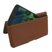 Acer Liquid Zest 4G Leather Wallet Pouch Case (Brown) PDair Premium Hadmade Genuine Leather Protective Case Sleeve Wallet