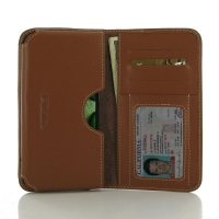 Acer Liquid Zest 4G Leather Wallet Sleeve Case (Brown) PDair Premium Hadmade Genuine Leather Protective Case Sleeve Wallet
