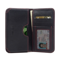 Acer Liquid Zest 4G Leather Wallet Sleeve Case (Red Stitch) PDair Premium Hadmade Genuine Leather Protective Case Sleeve Wallet