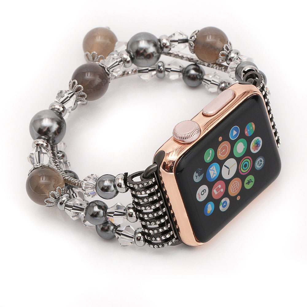 Agate Beads Wristband Pearl Strap Replacement Bracelet for Apple Watch Series 2 38mm (Grey)