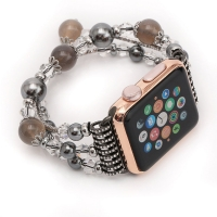 Apple Watch Series 5 | Watch Series 4  40mm Agate Beads Wristband Pearl Strap Replacement Bracelet (Grey) is designed to wear fashionable look to your device. Handmade Fashion Agate Beads Jewelry Pearl design, make your smartwatch looks special and nice.