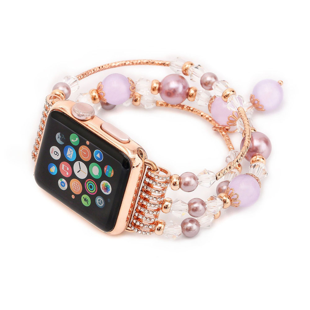 Apple Watch Series 5 | Series 4 40mm Agate Beads Wristband Pearl Strap Replacement Bracelet (Purple) is designed to wear fashionable look to your device. Handmade Fashion Agate Beads Jewelry Pearl design, make your smartwatch looks special and nice. Suita