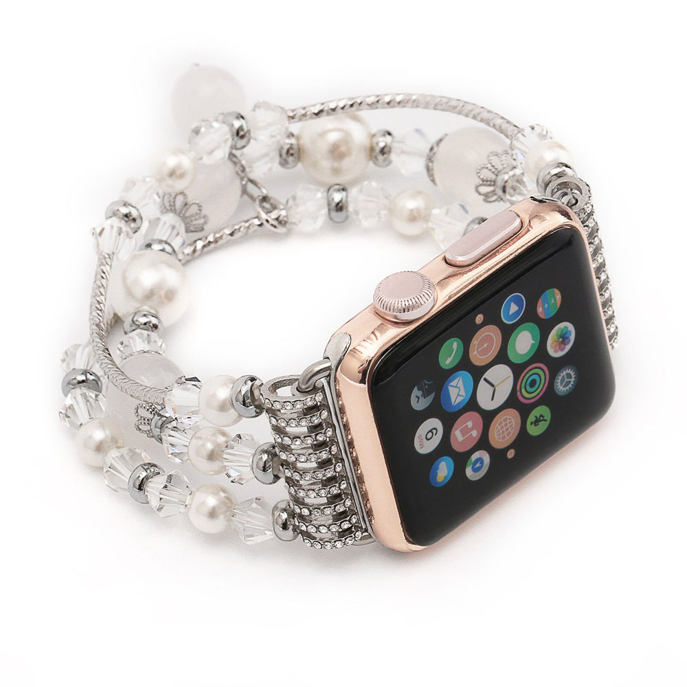 Apple Watch Series 5 | Series 4 40mm Agate Beads Wristband Pearl Strap Replacement Bracelet (White) is designed to wear fashionable look to your device. Handmade Fashion Agate Beads Jewelry Pearl design, make your smartwatch looks special and nice. Suitab