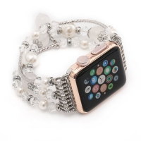 Agate Beads Wristband Pearl Strap Replacement Bracelet for Apple Watch Series 1 38mm (White)