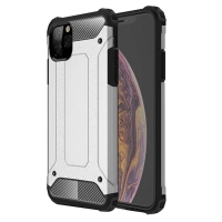 Hybrid Dual Layer Tough Armor Protective Case for Apple iPhone 11 (Silver)