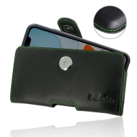 Leather Horizontal Pouch Case with Belt Clip for Apple iPhone 11 ( Compatible with 1.0 mm Slim Case / Cover on ) (Green Stitch)