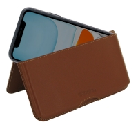Leather Wallet Pouch for Apple iPhone 11 ( Compatible with 1.0 mm Slim Case / Cover on ) (Brown)