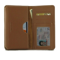 Leather Card Wallet  for Apple iPhone 11 ( Compatible with 1.0 mm Slim Case / Cover on ) (Brown)