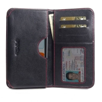 Leather Card Wallet  for Apple iPhone 11 ( Compatible with 1.0 mm Slim Case / Cover on ) (Red Stitch)