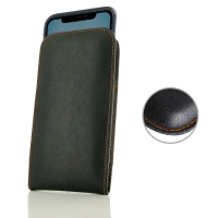 Leather Vertical Pouch Case for Apple iPhone 11 ( Compatible with 1.0 mm Slim Case / Cover on ) (Orange Stitch)