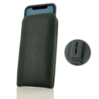 Leather Vertical Pouch Belt Clip Case for Apple iPhone 11 ( Compatible with 1.0 mm Slim Case / Cover on ) (Green Stitch)