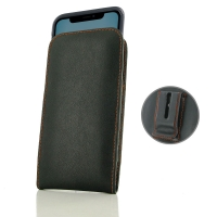 Leather Vertical Pouch Belt Clip Case for Apple iPhone 11 ( Compatible with 1.0 mm Slim Case / Cover on ) (Orange Stitch)