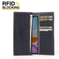 Continental Leather RFID Blocking Wallet Case for Apple iPhone 11 (Black Pebble Leather/Red Stitch)