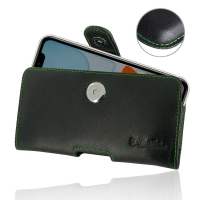Leather Horizontal Pouch Case with Belt Clip for Apple iPhone 11 (Green Stitch)