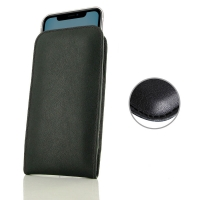 Leather Vertical Pouch Case for Apple iPhone 11 (Black Stitch)