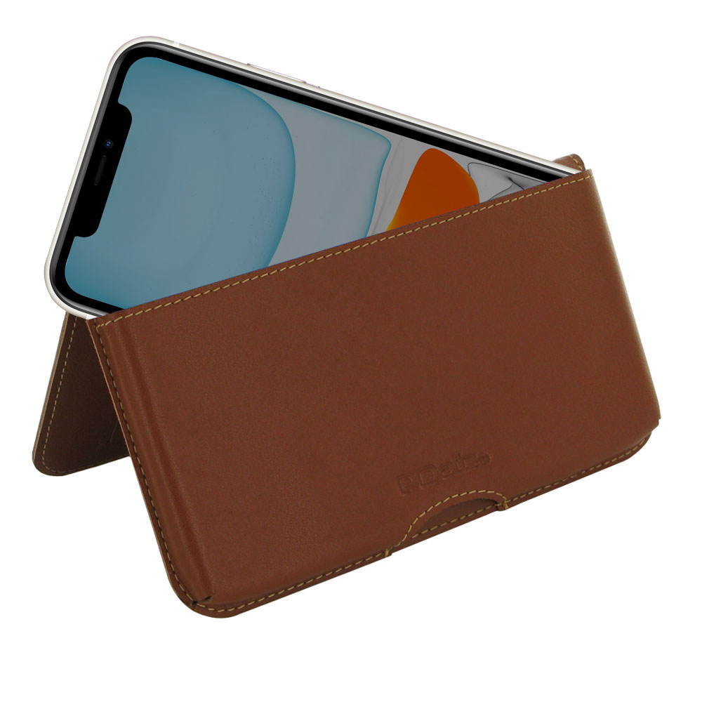iPhone 11 Leather Wallet Pouch Case (Brown) is the most functional handmade case so far with its unique design and exquisite craftsmanship. Multi-purpose pockets provide room for multiple credit card and ID cards. 2 additional pockets are custom to place