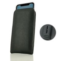 Leather Vertical Pouch Belt Clip Case for Apple iPhone 11 (Black Stitch)