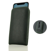 Leather Vertical Pouch Belt Clip Case for Apple iPhone 11 (Green Stitch)