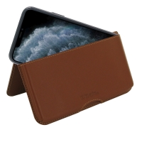 Leather Wallet Pouch for Apple iPhone 11 Pro ( Compatible with 1.0 mm Slim Case / Cover on ) (Brown)