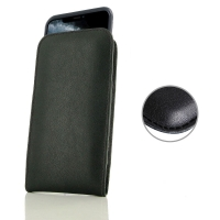 Leather Vertical Pouch Case for Apple iPhone 11 Pro ( Compatible with 1.0 mm Slim Case / Cover on ) (Black Stitch)