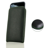 Leather Vertical Pouch Case for Apple iPhone 11 Pro ( Compatible with 1.0 mm Slim Case / Cover on ) (Green Stitch)
