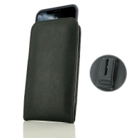 Leather Vertical Pouch Belt Clip Case for Apple iPhone 11 Pro ( Compatible with 1.0 mm Slim Case / Cover on ) (Black Stitch)