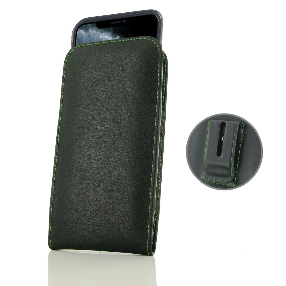 10% OFF + FREE SHIPPING, Buy the BEST PDair Handcrafted Premium Protective Carrying iPhone 11 Pro (in Slim Cover) Pouch Clip Case (Green Stitch). Exquisitely designed engineered for iPhone 11 Pro.