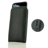 Leather Vertical Pouch Belt Clip Case for Apple iPhone 11 Pro ( Compatible with 1.0 mm Slim Case / Cover on ) (Green Stitch)