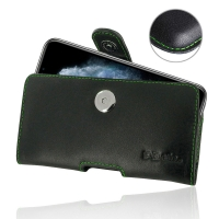Leather Horizontal Pouch Case with Belt Clip for Apple iPhone 11 Pro (Green Stitch)