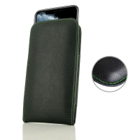 Leather Vertical Pouch Case for Apple iPhone 11 Pro (Green Stitch)