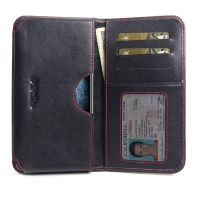 Leather Card Wallet for Apple iPhone 11 Pro (Red Stitch)