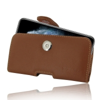Leather Horizontal Pouch Case with Belt Clip for Apple iPhone 11 Pro Max  (Brown)