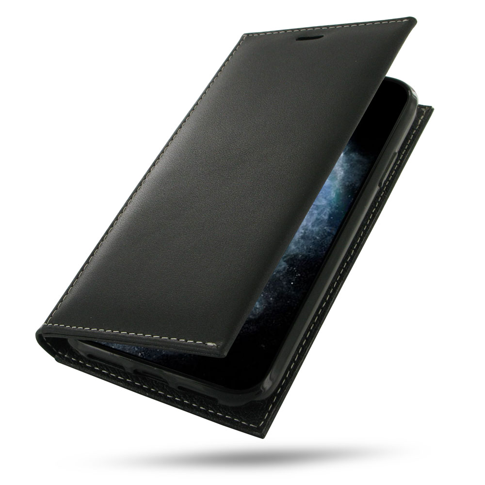 iPhone 11 Pro Max Leather Folio Flip Wallet Case is handcrafted from superfine full grain leather and offers a slim book stand design. This wallet case with pockets, gives you the freedom to carry your device and cards together with the provided dedicated